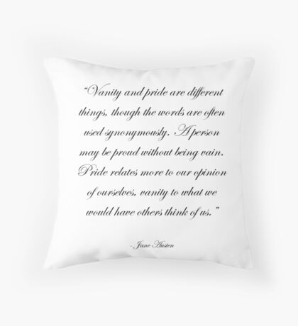 Jane Austen: Pride and Vanity Throw Pillow