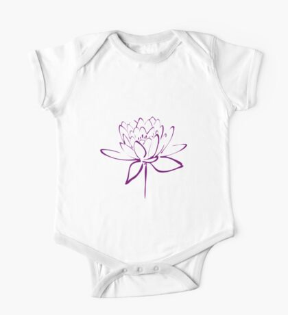 Lotus Flower Calligraphy (Purple) One Piece - Short Sleeve