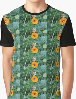 Yellow Flower Green Insect Graphic T-Shirt