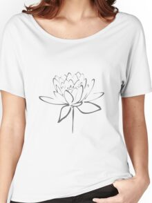 Lotus Flower Calligraphy (Smoke Grey) Women's Relaxed Fit T-Shirt