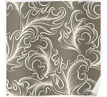 Victorian leaves Seamless pattern Poster