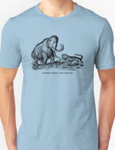 Mammoth confronts a sabre-toothed tiger T-Shirt