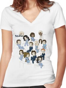 Grey's anatomy- cartoon cast Women's Fitted V-Neck T-Shirt
