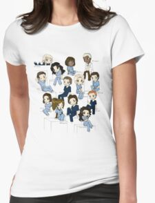 Grey's anatomy- cartoon cast Womens Fitted T-Shirt
