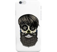 Sugar skull with beard iPhone Case/Skin