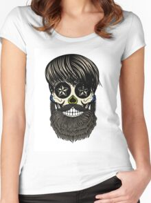 Sugar skull with beard Women's Fitted Scoop T-Shirt