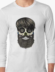 Sugar skull with beard Long Sleeve T-Shirt