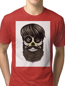 Sugar skull with beard Tri-blend T-Shirt