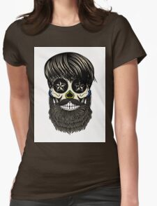 Sugar skull with beard Womens Fitted T-Shirt