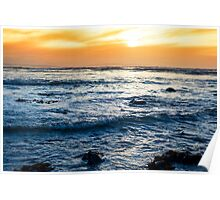 calm reflections at rocky beal beach Poster
