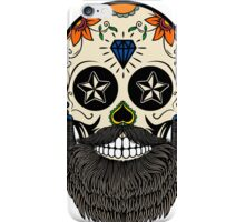 Sugar skull with beard. iPhone Case/Skin