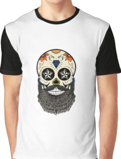 Sugar skull with beard. Graphic T-Shirt
