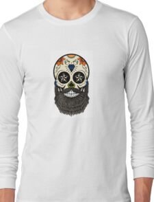 Sugar skull with beard. Long Sleeve T-Shirt