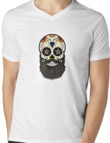 Sugar skull with beard. Mens V-Neck T-Shirt