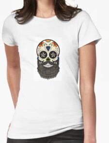 Sugar skull with beard. Womens Fitted T-Shirt