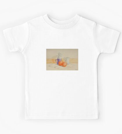 Still life with cups and oranges Kids Tee