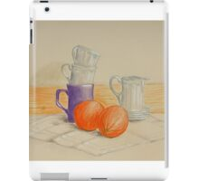 Still life with cups and oranges iPad Case/Skin