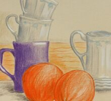 Still life with cups and oranges Sticker