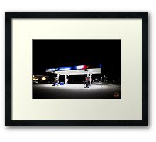 Ultramar - Gas station by night Framed Print