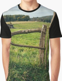 Wooden Meadow Fence Graphic T-Shirt