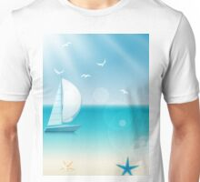 Cheerful Beach Sea Sailboat Scene Unisex T-Shirt