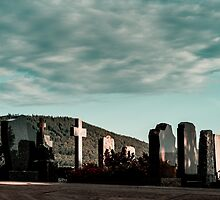 New catholic cemetery in french village, Alsace, France by Alexander Sorokopud