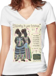 Following in your Footsteps Women's Fitted V-Neck T-Shirt