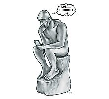 The thinking man with cell phone Photographic Print