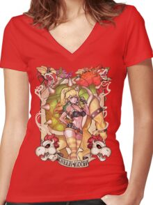 Queen Of Koopa Women's Fitted V-Neck T-Shirt