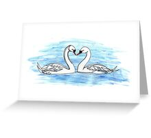 Loveheart Swans Greeting Card