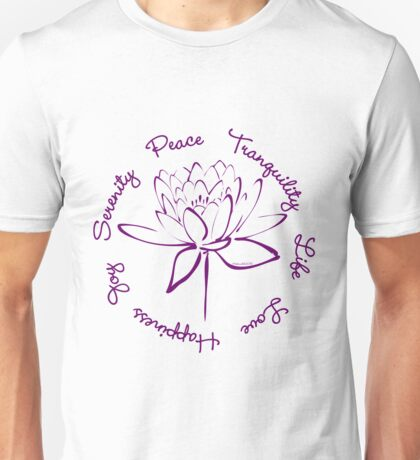 Serenity Tranquility Lotus (Purple) Unisex T-Shirt