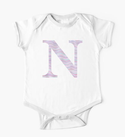 Initial N Rose Quartz And Serenity Pink Blue Wavy Lines One Piece - Short Sleeve