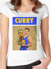 Stephen Curry (Championship Trophy) Women's Fitted Scoop T-Shirt