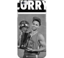 Stephen Curry (Championship Trophy BW) iPhone Case/Skin