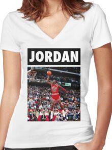 Michael Jordan (Dunk) Women's Fitted V-Neck T-Shirt