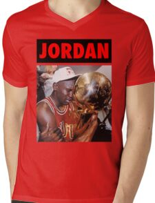 Michael Jordan (Championship Trophy Red) Mens V-Neck T-Shirt