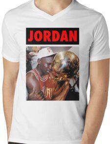 Michael Jordan (Championship Trophy Red) Mens V-Neck T-Shirt