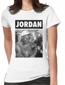 Michael Jordan (Championship Trophy BW) Womens Fitted T-Shirt