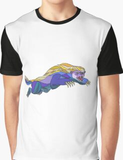 Honey Badger Jumping Drawing Graphic T-Shirt