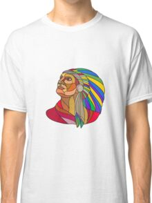 Native American Indian Chief Headdress Drawing Classic T-Shirt