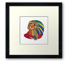 Native American Indian Chief Headdress Drawing Framed Print