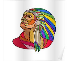 Native American Indian Chief Headdress Drawing Poster