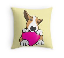 Love You Bull Terrier Puppy Throw Pillow