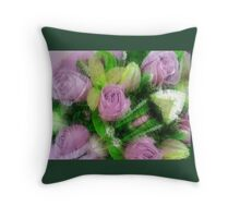 Textured pink roses Throw Pillow