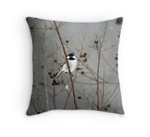 Chilly Chick-a-Dee Throw Pillow