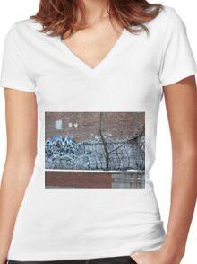 New York City Graffiti Women's Fitted V-Neck T-Shirt