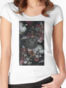 Stag & Flowers Women's Fitted Scoop T-Shirt