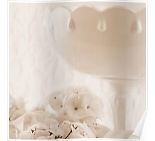 White Geraniums And Pedestal Dish Poster