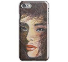 LADY WITH WINDBLOWN HAIR iPhone Case/Skin