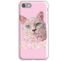 Pink Flower Face Cat iPhone Case/Skin
